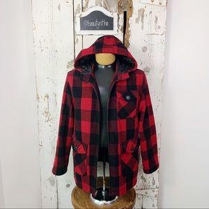 Aeropostale black/red buffalo plaid wool coat.